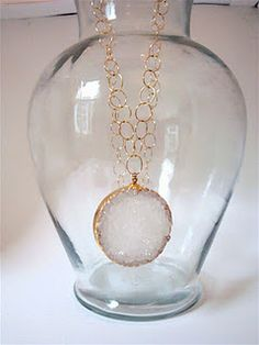 Large Crystal Druzy on  Large Circular Gold Filled Chain