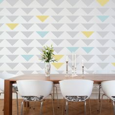 Geometric Triangle Wall Stencil by cutestencils on Etsy. LOVE this pattern for a nursery.