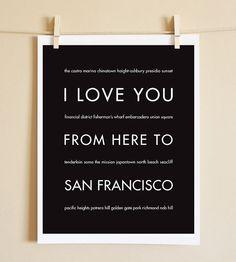 San Francisco California Art Print I Love You by HopSkipJumpPaper