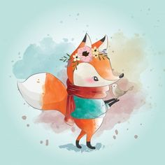 Little fox and his friend Vector Llama Drawing, Fox Drawing, Autumn Illustration, Bear Illustration, Art Fox, Still Life Sketch, Cute Cartoon Animals, Little Fox, Geometric Art