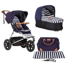 Mountain urban jungle luxury buggy with satchel & clips nautical + Carrycot