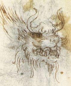 голова дракона, фрагмент.  Леонардо да Винчи