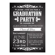 Rustic and vintage slate chalkboard black board theme graduation party invitation is great for an outdoor cookout, barbecue bbq or summertime grad celebration