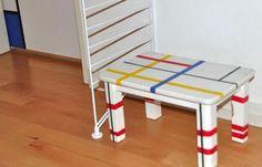 Hocker im Stil von Piet Mondrian mit mt masking tape - Newsarchiv (Foto: KK)