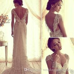 Ball Gown 2015 Sexy Anna Campbell V Back Wedding Dresses Cheap Beach Wedding Dresses Beads Capped Sleeves Vintage Lace Bridal Gowns Inexpensive Bridal Gowns From Weddinggowndazzle, $125.67  Dhgate.Com