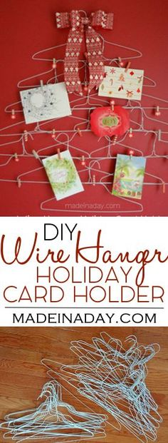Quirky Wire Hanger Holiday Card Holder, easy craft, make a Christmas card holder out of dry cleaning hangers, washi tape craft.. via @madeinaday