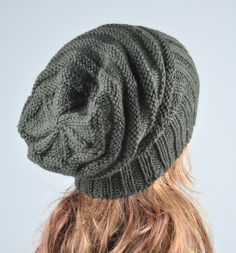 Hand knit hat - Olive Green Chunky Hat, slouchy hat, rib band. $38.00, via Etsy.