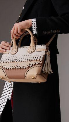 The Small Banner in Brogue Detail Leather in Chino - Women Burberry Handbags, Prada Handbags, Prada Bag, Burberry Bags, Women's Crossbody Purse, Tote Bag, Clutch Bag, Leather Purses, Leather Handbags