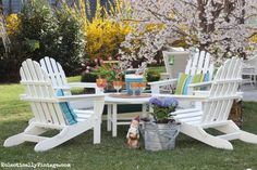 Polywood Adirondack Chair conversation set - love the four chairs and the big round table! eclecticallyvintage.com