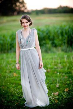 gray & white wedding dress