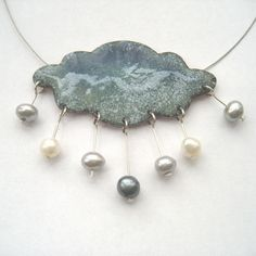 Welsh raincloud necklace, made in copper, silver, kiln-fired enamels and fresh-water pearls by Maggie Jones.