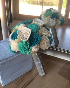 Rustic wedding bouquet, Turquoise and teal bouquet, Sola wood bouquet, Alternative bouquet, Bridal bouquet, Bridesmaid bouquet, Sola Wedding by ScarlettJadeDesigns on Etsy https://www.etsy.com/listing/387133480/rustic-wedding-bouquet-turquoise-and