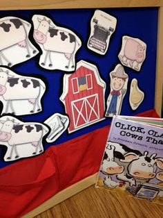 CLicK CLacK MoO!! Oral Language retell with felt figures, story sticks, writing prompts and Write Around the Room Center!