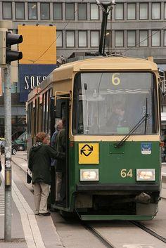 Tram in Helsinki, Finland. --- Tram 6, that route, so familiar! --- (the pin via Karen Belden)