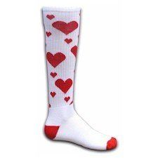 ba2e796d65e Red Lion Hearts Knee High Socks ( White   Red - Medium ) Random Size Heart  Design Heel and Toe Construction Cushioned Acrylic Foot Made in the USA
