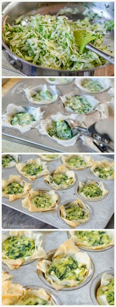 Zucchini Spinach & Feta Phyllo Bites - Latest Food Think I'll try and make a varoant of tjis without the spinach. Finger Food Appetizers, Appetizer Recipes, Appetizer Ideas, Vegetarian Recipes, Cooking Recipes, Healthy Recipes, Healthy Snacks, Healthy Eating, Spinach And Feta