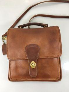 Coach 301 British Tan Leather Cross-Body Shoulder Bag Handbag Purse Tag Vintage…