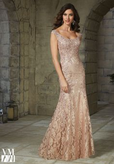 Beaded Appliqués on Lace Evening Gown and Stole 6d7ec84fbb46