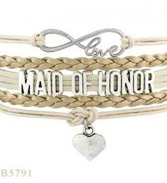 PCS/Lot)Infinity Love Maid Of Honor Heart Charm Bracelets Gifts Bracelets For Women Cream Gold Leather Custom Jewelry Bangle Bracelets, Bangles, Infinity Love, Cream And Gold, Gold Leather, Maid Of Honor, Custom Jewelry, Heart Charm, Silver