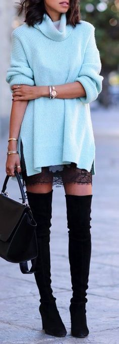 Lace + OTK boots.