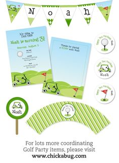 Golf party - Personalized address labels - Sheet of 24. $5.00, via Etsy.