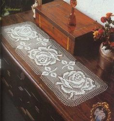 Free filet crochet table runner diagram, chart pattern plus many more patterns here.                                                                                                                                                     More