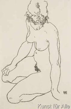 Egon Schiele - Seated female nude, 1918