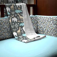Gray Zoology Crib Blanket   Carousel Designs