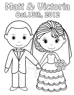 Personalized Printable Bride Groom  Wedding Party Favor childrens kids coloring page activity PDF or JPEG file via Etsy