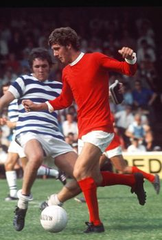 1st August 1970. Manchester United forward Brian Kidd against Reading in the Watney Cup.