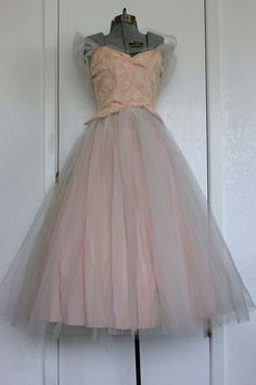 1950s Strapless Lorrie Deb Tulle Prom Dress by Vamp2VixenVintage, $210.00
