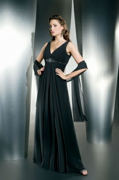 Demetrios Evening Style M750 by Demetrios - Chiffon, sleeveless, V-neck with empire bodice outlined with jeweling. (Shawl)