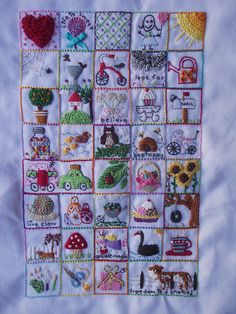 squares of fun & whimsical embroideries