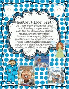 What If You Had Animal Teeth & Nonfiction Dental Health w/Craftivity from The Dirt Road Teacher on TeachersNotebook.com -  (40 pages)  - Common Core aligned activities for What if You Had Animal Teeth, Nice Try Tooth Fairy and dental health books: close reading, shared reading, listening center or literacy circles. Reading comprehension, research, writing activities, graphic organizers wit