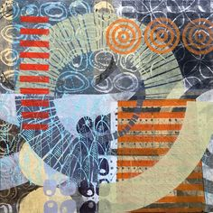 "carve and print dozens of linocut prints on thin tissue paper,"" says multi-media artist Kathrine Allen-Coleman. ""They are then layered over each other on canvas, creating geometric abstracts that lean towards landscape. Linoprint, Linocut Prints, Abstract Landscape, Landscape Design, Art Festival, Medium Art, Art Techniques, Paper Art, Paper Collages"