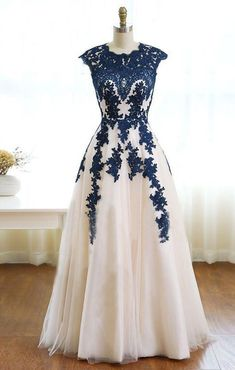 lace applique prom dress, long prom dress, A-line prom dress, tulle evening dress, A-line prom dress. by prom dresses, $168.00 USD