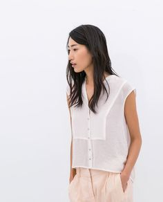 Image 1 of JEWEL BUTTON TOP from Zara