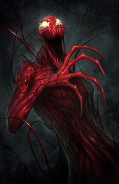 Always thought carnage was the best. You can do so much with his awesome Red body. So much death, and destruction.<-Carnage is cool. I'd be fine with being Carnage or Venom :p Comic Book Characters, Marvel Characters, Comic Character, Comic Books Art, Comic Art, Marvel Venom, Marvel Villains, Marvel Comics Art, Venom Spiderman