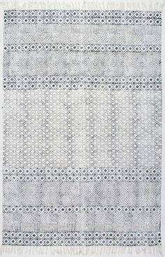 Rugs USA Chembra Block Printed Cotton Flatweave Varied Bands RUG