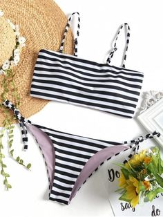 Stand out in this paired bikini swimwear. It takes on a striped pattern for an eye-catching look, straight cut shape bikini top with adjusted shoulder spaghetti straps. Tie side swim bottoms for a perfect fit. #Zaful #Swimwear #Bikini #swimwear#bikini#beach#style