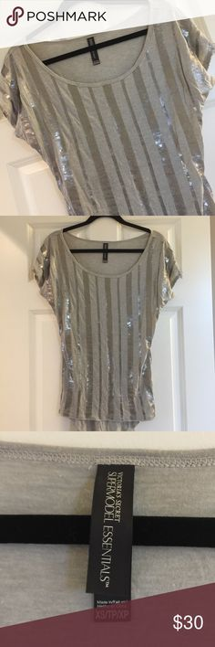 VS Sequin Top XS but fits like a Small too. Longer Top can be worn with leggings etc. great condition.  Smoke free home. No Trades. ♦️♥️♦️ Victoria's Secret Tops
