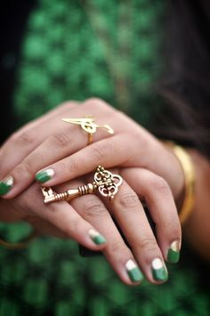 gold + emerald nails + vintage key ring wow