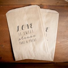 Rustic Wedding Favor - Treat Bag, Favor Bag, Candy Bar Bag - Love is Sweet, custom paper bag, kraft paper bag