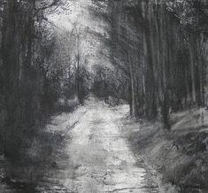 "michael wann || Artist  ""Dark Avenue"", charcoal and wash on canvas, 46x46cm,"