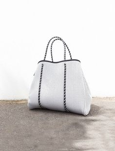 The Perforated Neoprene Bag. Also available in Black and Electric Blue. Measures: W x H x D matching Prene Purse: L x W washable (cool neoprene, polyester. Uni Bag, Twist Weave, Electric Blue, Straw Bag, Pouch, Tote Bag, Purses, Grey, Bags
