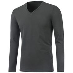Slim Fit V Neck Long Sleeve Tee (33 BAM) ❤ liked on Polyvore featuring men's fashion, men's clothing, men's shirts, men's t-shirts, mens slim shirts, mens long sleeve shirts, mens longsleeve shirts, mens slim fit shirts and mens vneck shirts