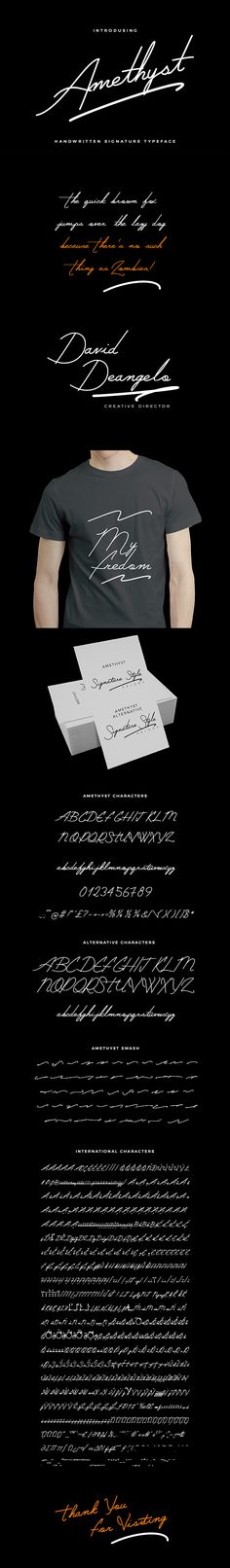 Introducing Amethyst Handwritten Signature Typeface –based on an original idea by me. a font that is very fresh and unique style handmade. Amethyst Handwritten Signature Typeface is perfectly suited to logo, stationery, poster, apparel, branding, wedding invitation, card, tagline, layout design, and much more !!