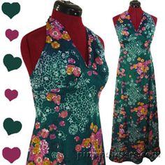 PinupDresses.com Vintage 70s Halter Floral Hippie Boho Maxi Dress S #Vintage
