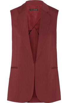 Shop on-sale Theory Adar stretch-gabardine vest. Browse other discount designer Jackets & more on The Most Fashionable Fashion Outlet, THE OUTNET. Burgundy Vest, Red Vest, Blazer Outfits, Designer Clothes Sale, Discount Designer Clothes, Designer Jackets, Red Waistcoat, Sleeveless Blazer, Clothes Refashion