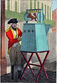 Once a familiar sight upon the London street, Peep Shows or Raree Boxes manned by itinerant performers were recorded in the capital as early as the 15th century Pictured is a veteran of the Napoleonic war making his living at Hyde Park corner as Showman in 1812. Via Spitalfields Life blog.